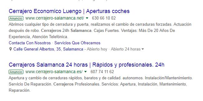 ejemplo de una campaña de Google Adwords y el tipo de anuncio
