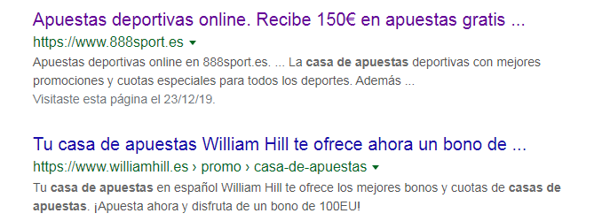 Snippets de Google para marketing en casas de apuestas
