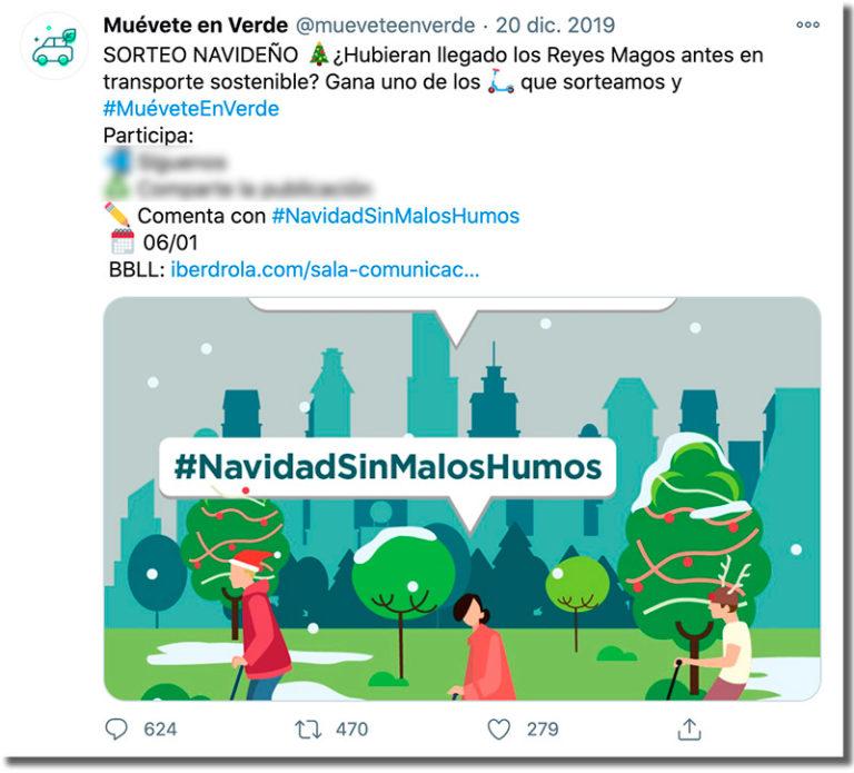 Sorteo en redes sociales como marketing navideño
